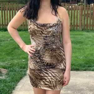 Dots Brown & Copper Party Dress Gold Chain Straps